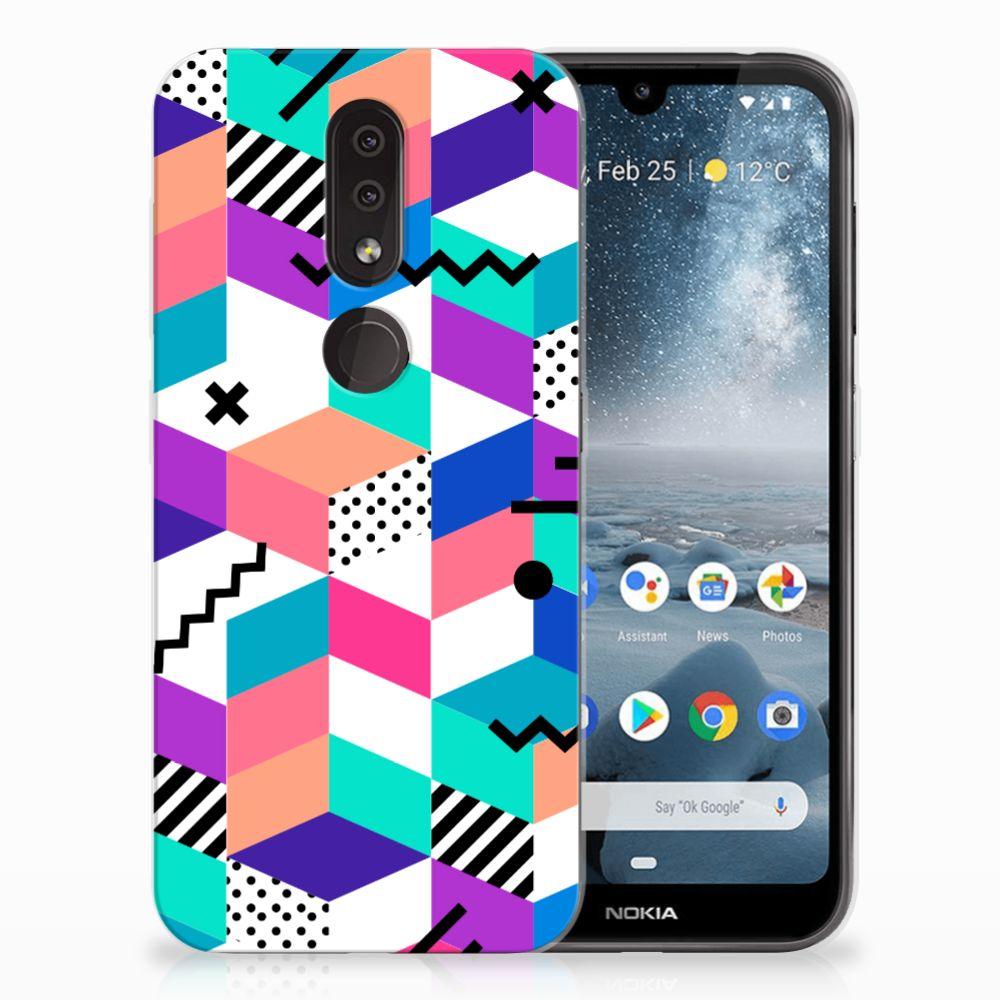 Nokia 4.2 TPU Hoesje Design Blocks Colorful