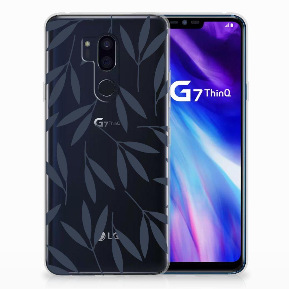LG G7 Thinq TPU Hoesje Design Leaves Blue