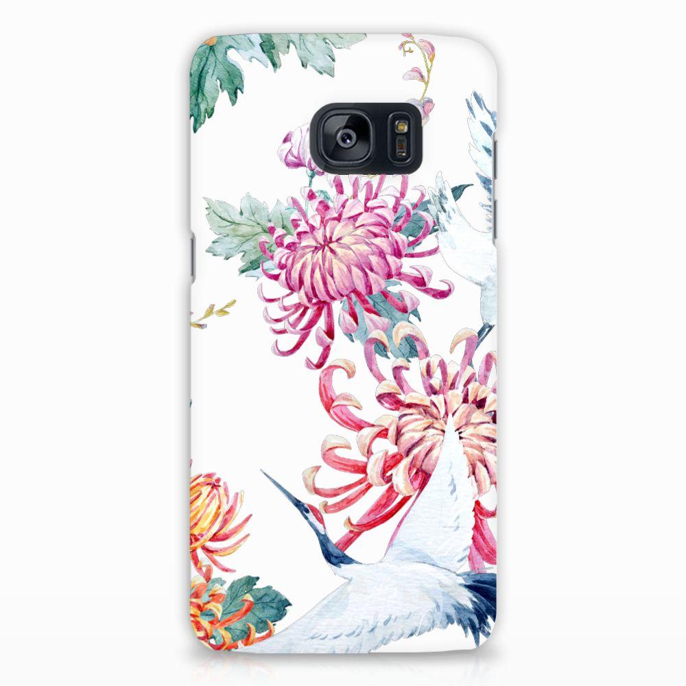 Samsung Galaxy S7 Edge Uniek Hardcase Hoesje Bird Flowers