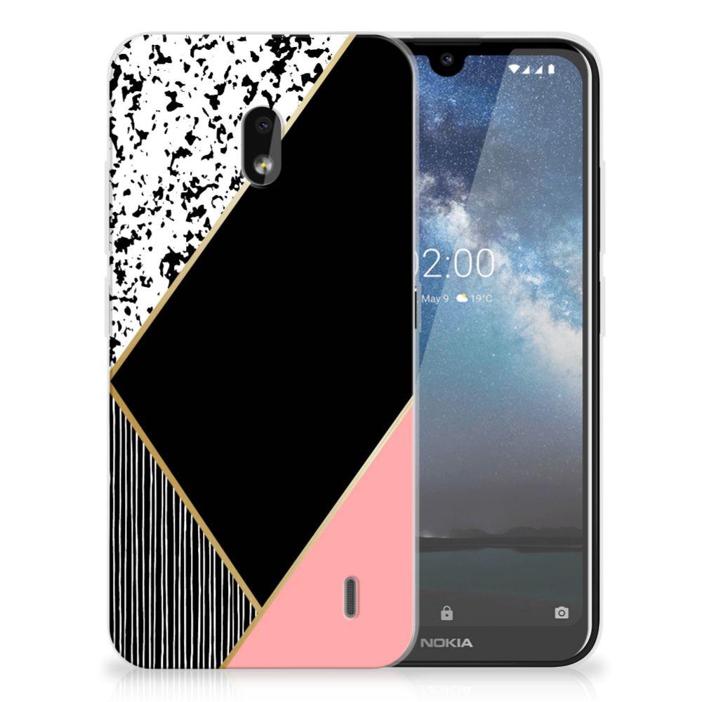 Nokia 2.2 TPU Hoesje Zwart Roze Vormen