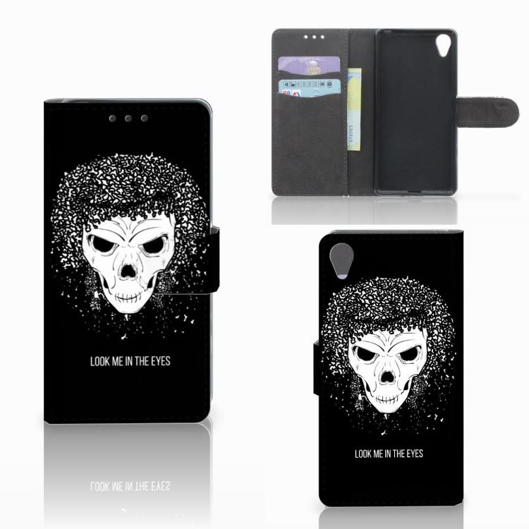 Telefoonhoesje met Naam Sony Xperia X Skull Hair