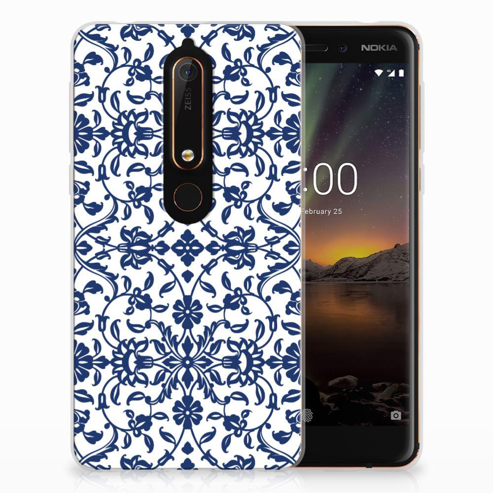Nokia 6 (2018) TPU Hoesje Flower Blue