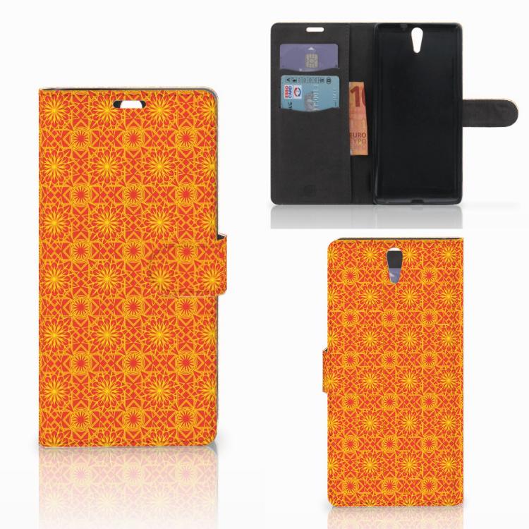 Sony Xperia C5 Ultra Telefoon Hoesje Batik Oranje