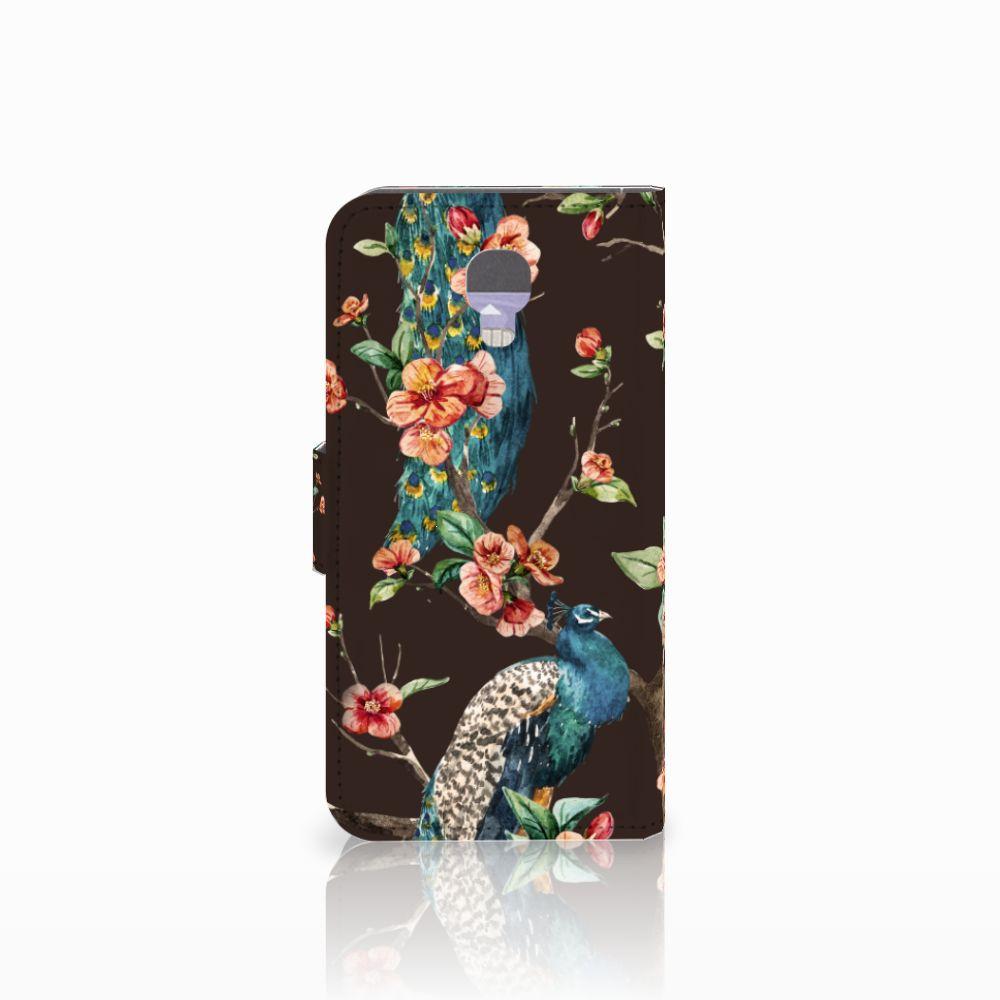 LG X Screen Telefoonhoesje met Pasjes Pauw met Bloemen