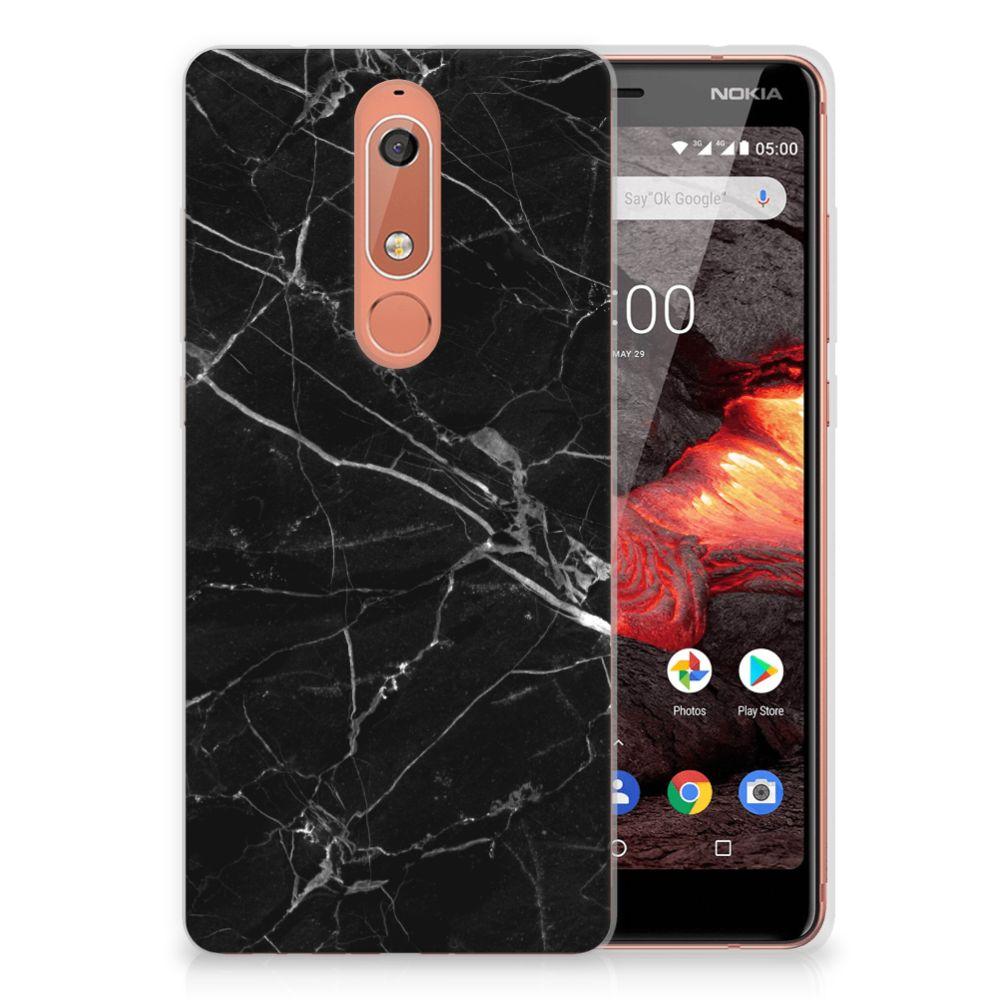 Nokia 5.1 (2018) TPU Siliconen Hoesje Marmer Zwart - Origineel Cadeau Vader