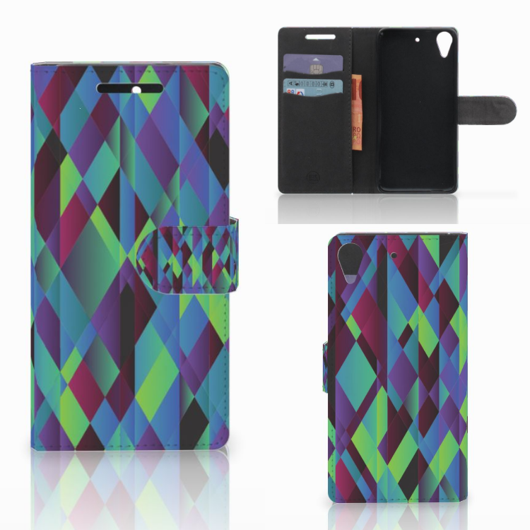 HTC Desire 628 Bookcase Abstract Green Blue