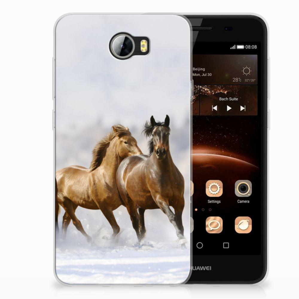 Huawai Y5 II | Y6 II Compact Uniek TPU Hoesje Paarden