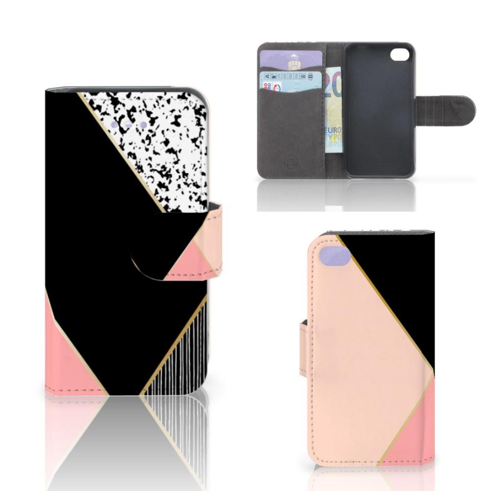 Apple iPhone 4 | 4S Bookcase Zwart Roze Vormen