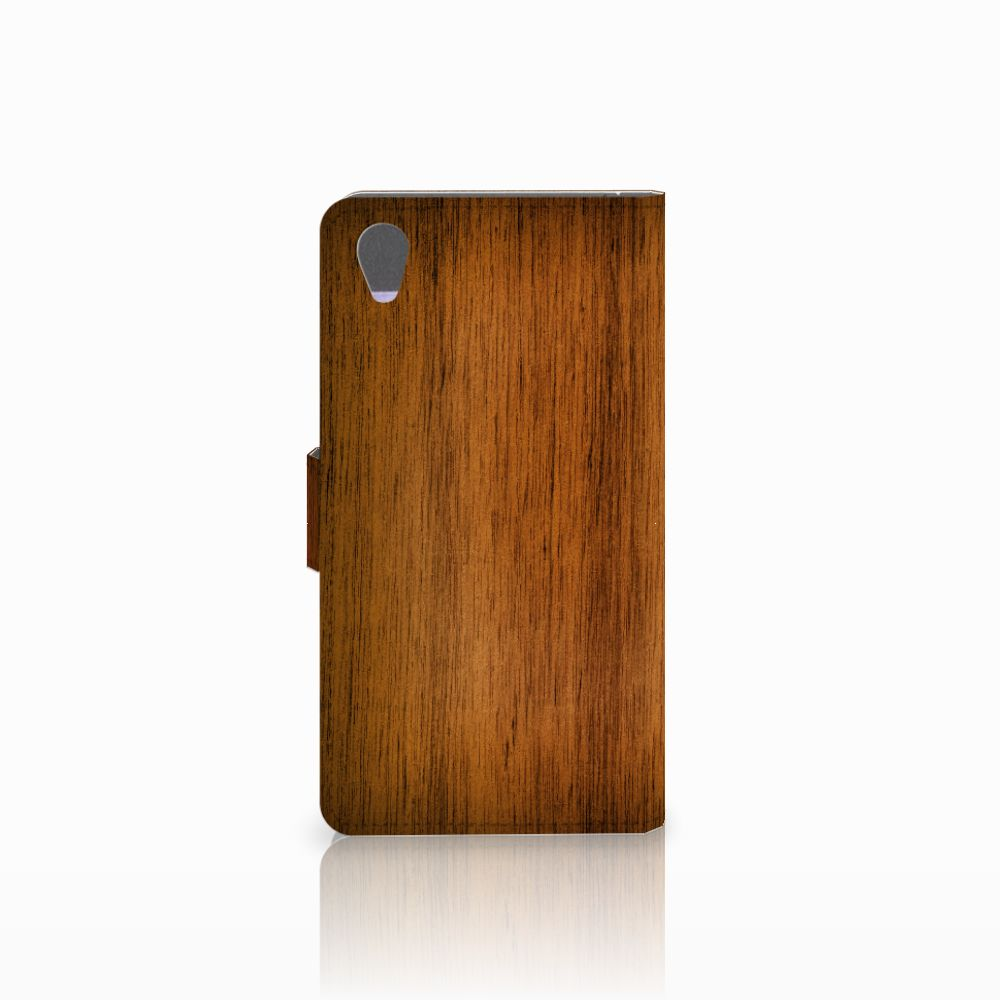 Sony Xperia Z1 Book Style Case Donker Hout