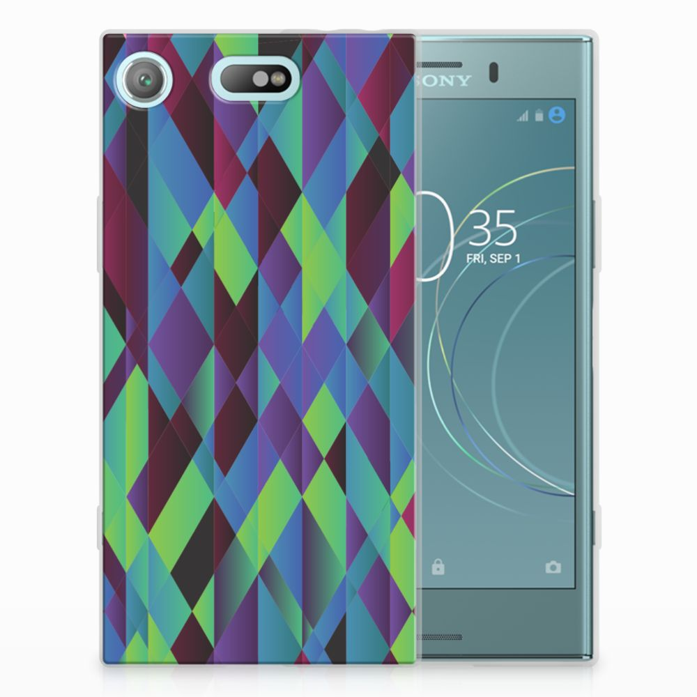 Sony Xperia XZ1 Compact TPU Hoesje Abstract Green Blue
