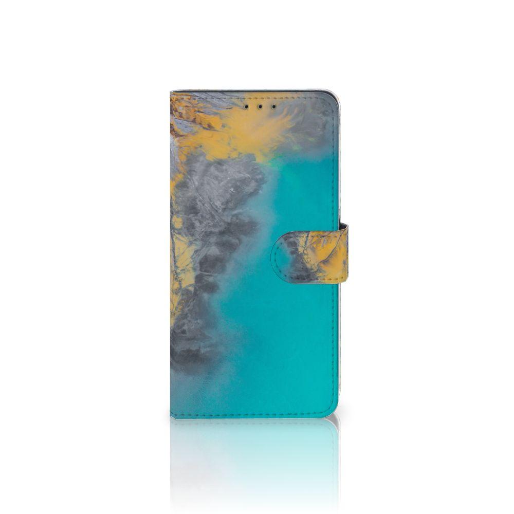 Samsung Galaxy A8 Plus (2018) Boekhoesje Design Marble Blue Gold