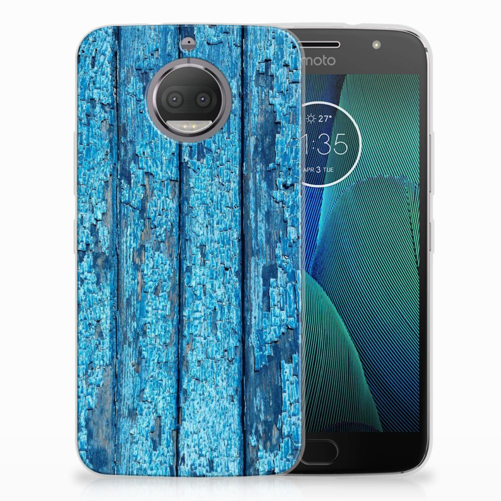 Motorola Moto G5S Uniek TPU Hoesje Wood Blue