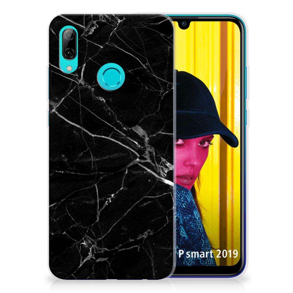 Huawei P Smart 2019 TPU Siliconen Hoesje Marmer Zwart