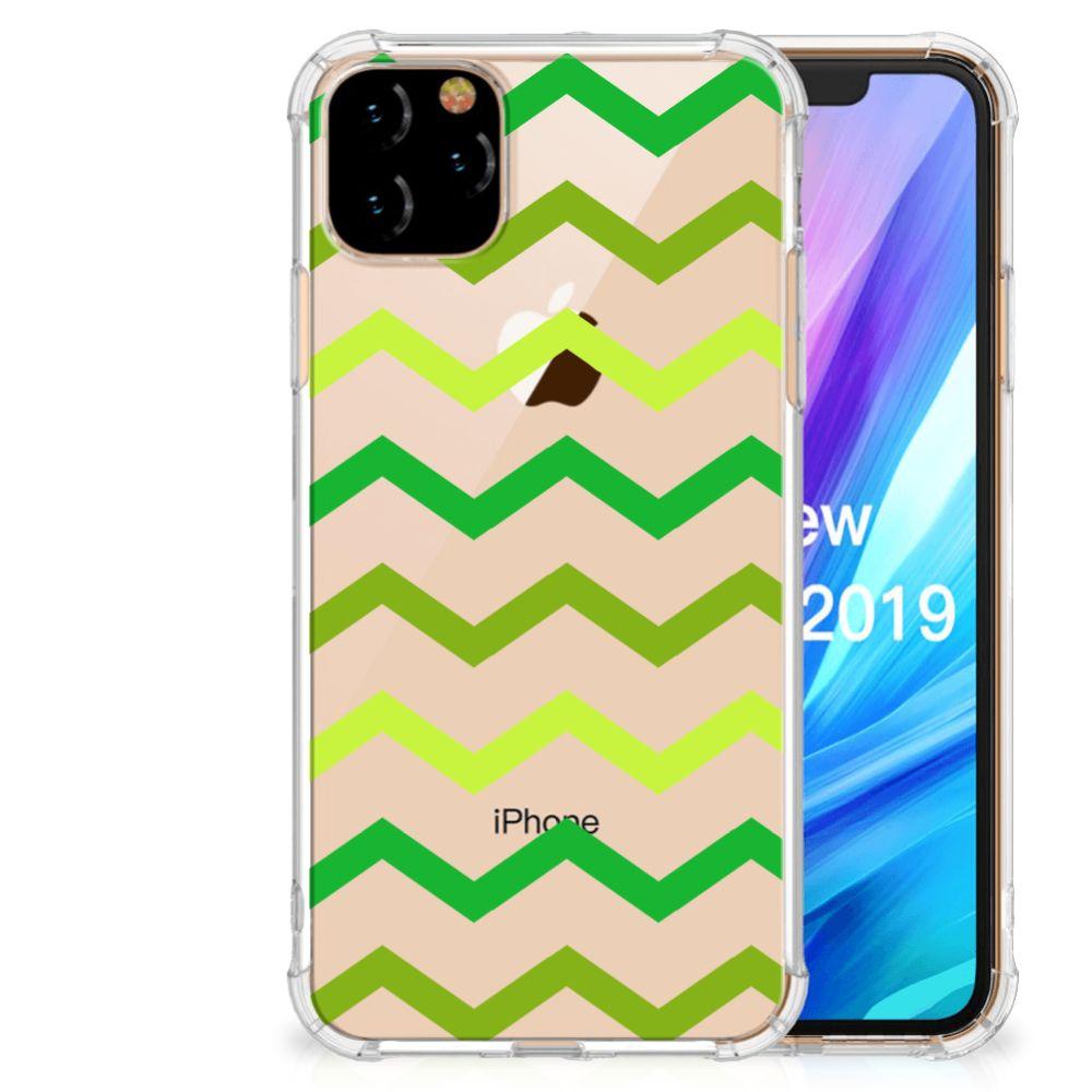 Apple iPhone 11 Pro Max Doorzichtige Silicone Hoesje Zigzag Groen