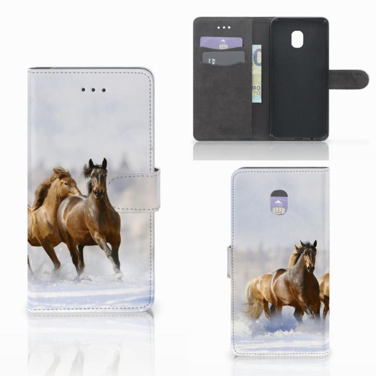 Samsung Galaxy J7 (2018) Telefoonhoesje met Pasjes Paarden