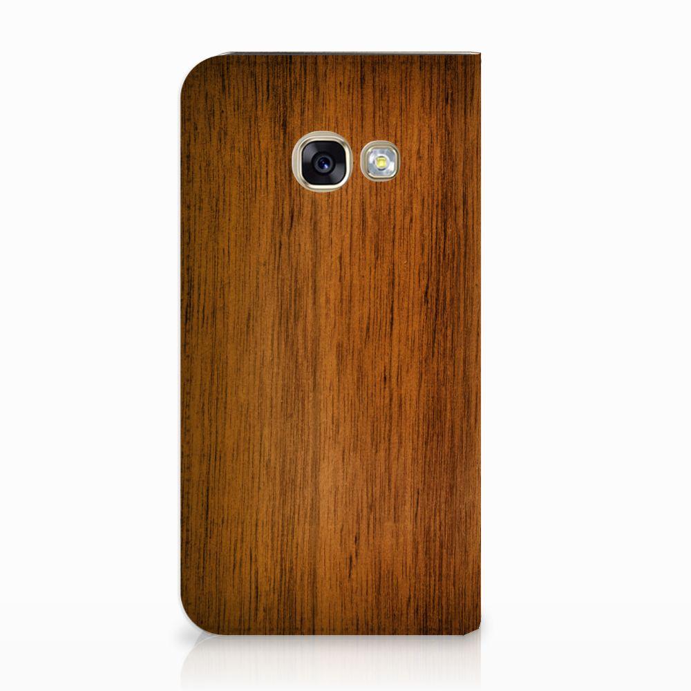 Samsung Galaxy A3 2017 Uniek Standcase Hoesje Donker Hout