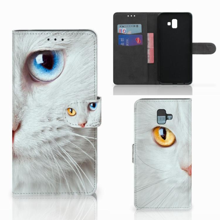 Samsung Galaxy J6 Plus (2018) Telefoonhoesje met Pasjes Witte Kat