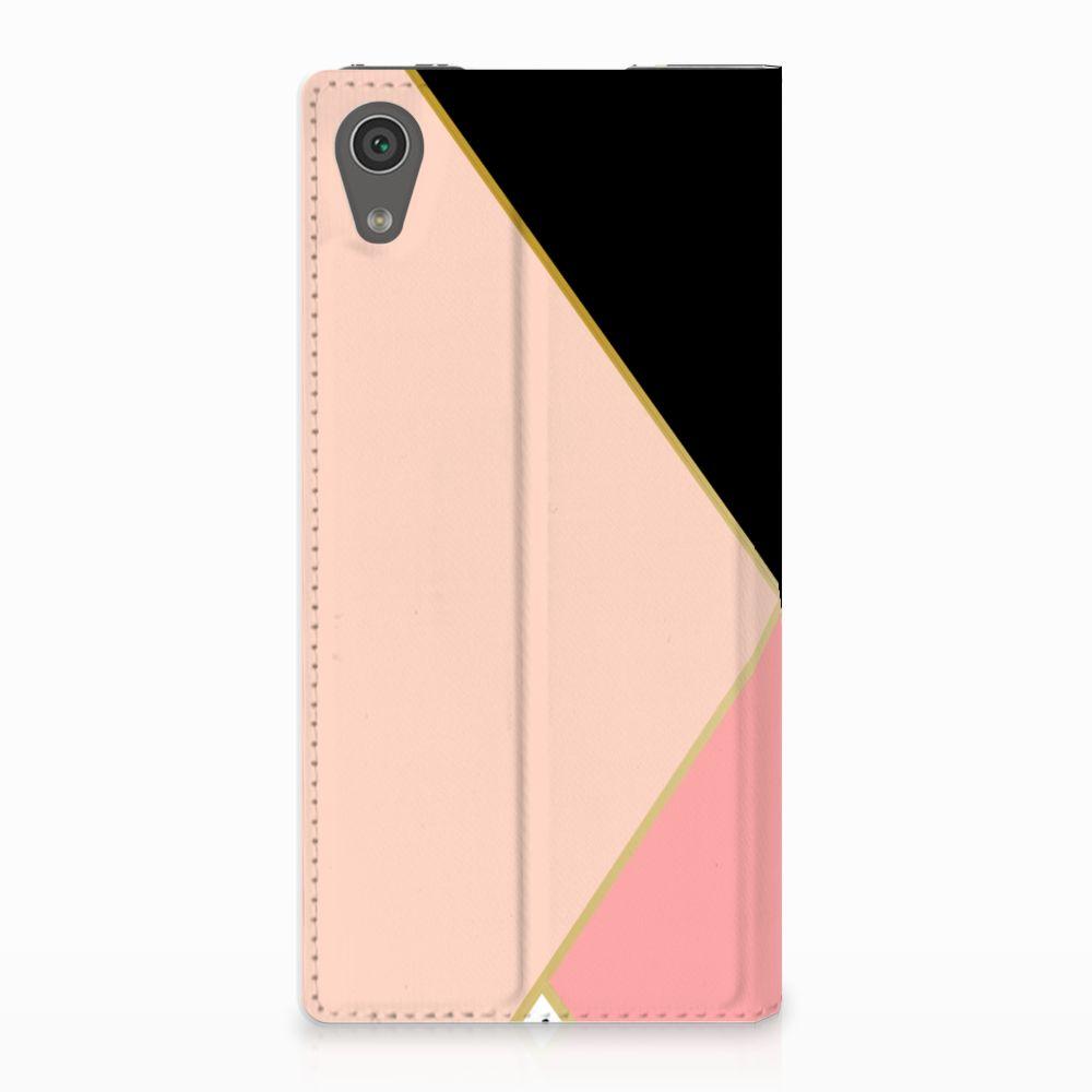 Sony Xperia XA1 Uniek Standcase Hoesje Black Pink Shapes