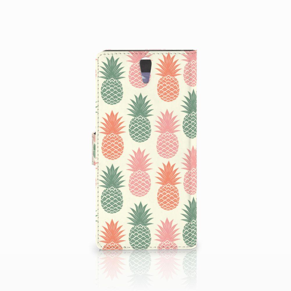Sony Xperia C5 Ultra Book Cover Ananas