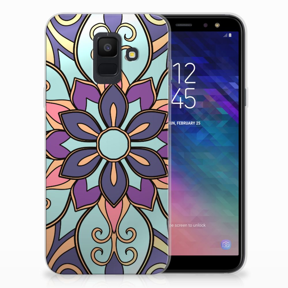 Samsung Galaxy A6 (2018) TPU Hoesje Design Purple Flower