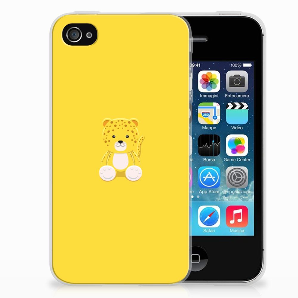 Apple iPhone 4 | 4s Telefoonhoesje met Naam Baby Leopard