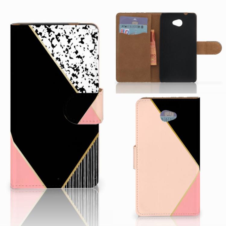 HTC Desire 601 Bookcase Zwart Roze Vormen