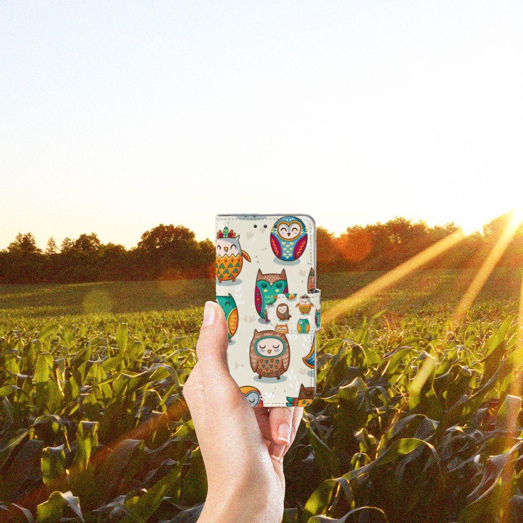 Samsung Galaxy A3 2015 Telefoonhoesje met Pasjes Vrolijke Uilen