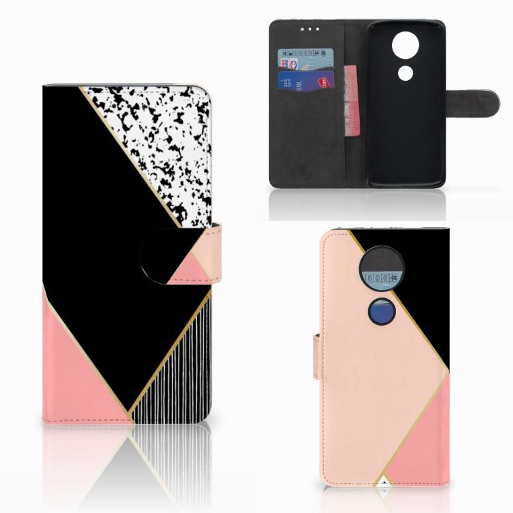 Motorola Moto E5 Plus Bookcase Zwart Roze Vormen