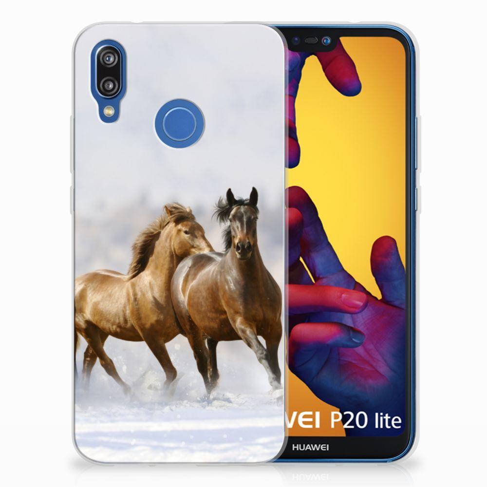 Huawei P20 Lite Uniek TPU Hoesje Paarden