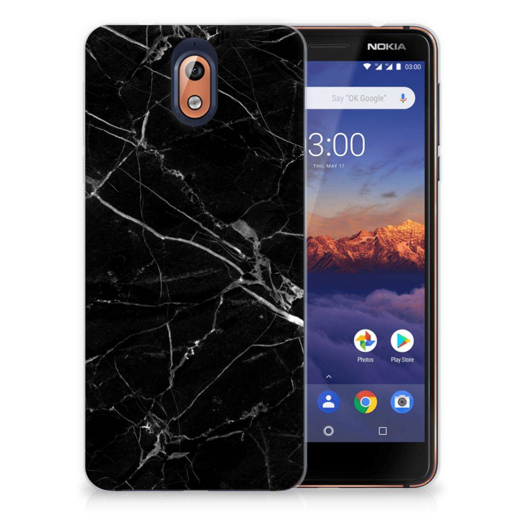 Nokia 3.1 (2018) Uniek TPU Hoesje Marmer Zwart