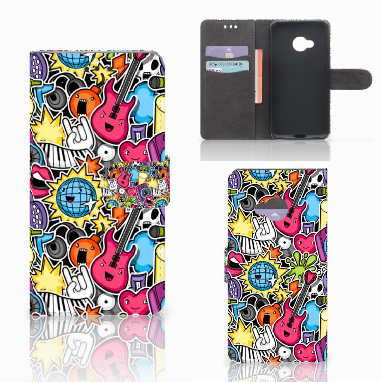 HTC U Play Wallet Case met Pasjes Punk Rock