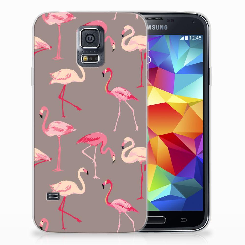 Samsung Galaxy S5 Uniek TPU Hoesje Flamingo