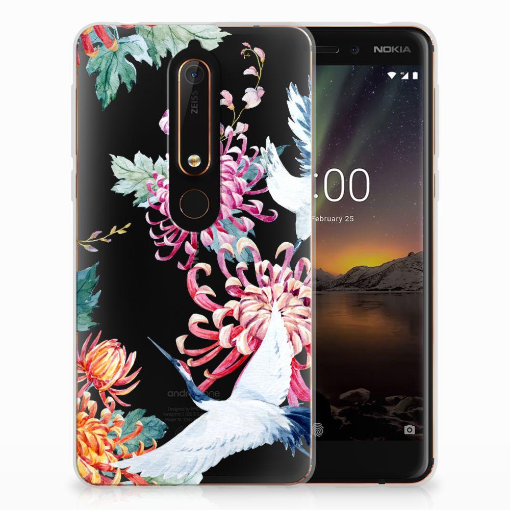 Nokia 6 (2018) Uniek TPU Hoesje Bird Flowers