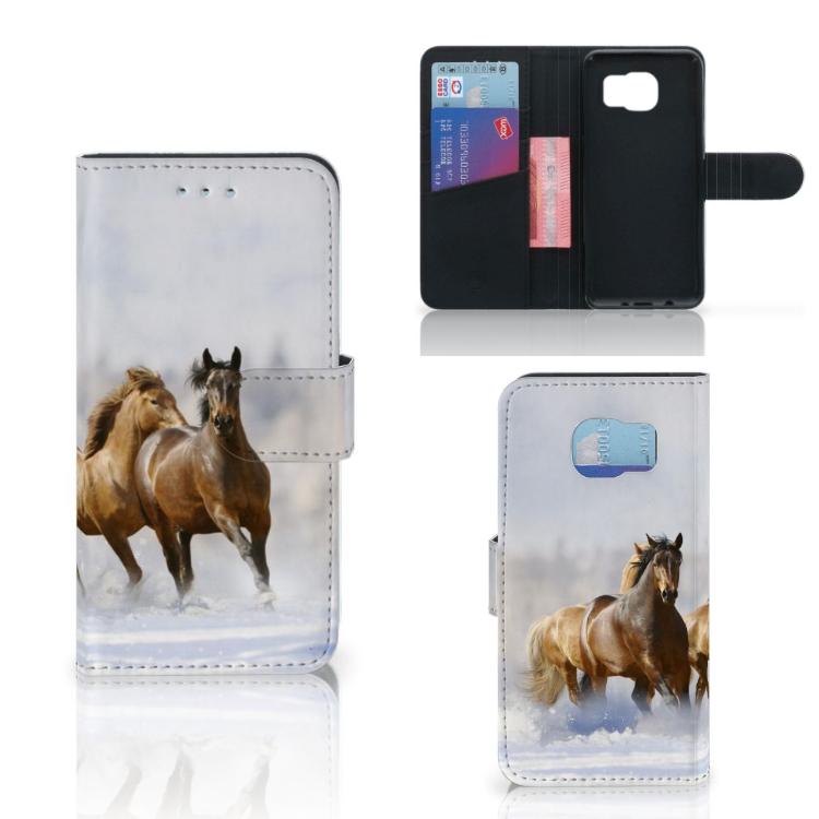 Samsung Galaxy S6 | S6 Duos Telefoonhoesje met Pasjes Paarden