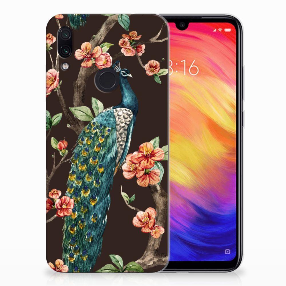 Xiaomi Redmi Note 7 Pro TPU Hoesje Pauw met Bloemen