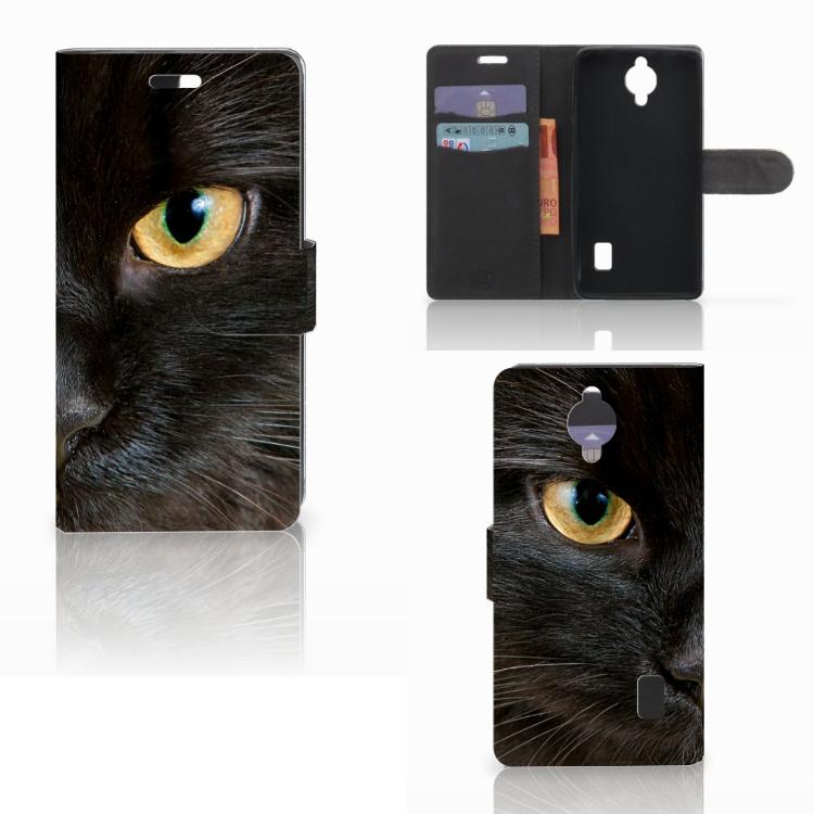 Huawei Y635 Telefoonhoesje met Pasjes Zwarte Kat