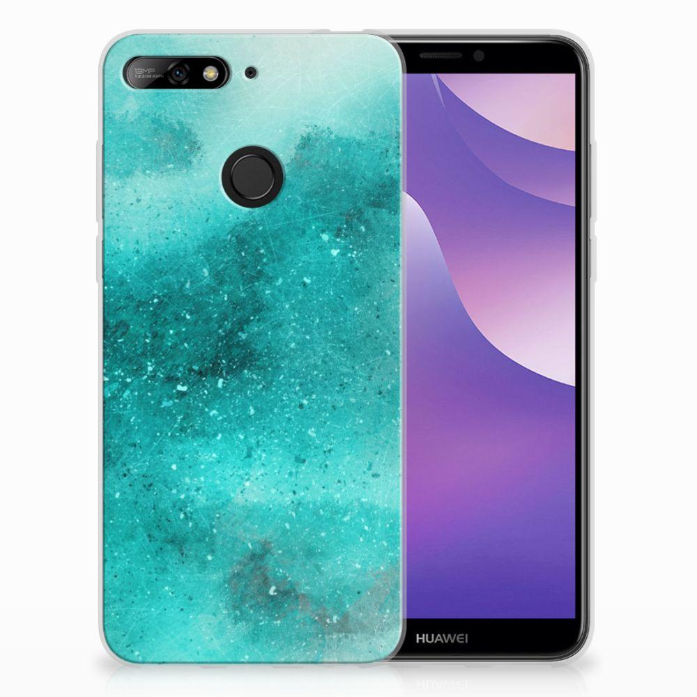 Huawei Y6 (2018) Uniek TPU Hoesje Painting Blue