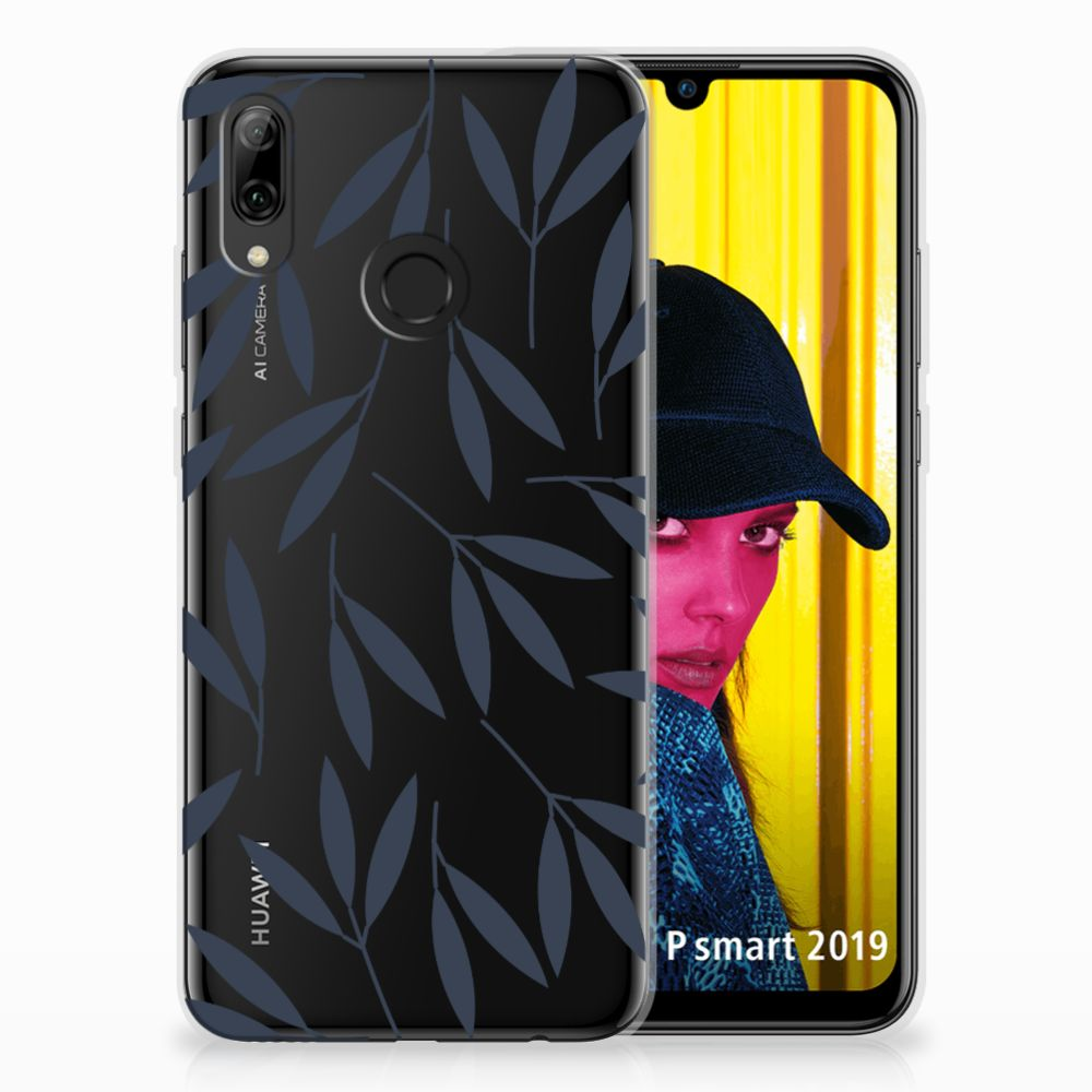 Huawei P Smart 2019 TPU Hoesje Design Leaves Blue