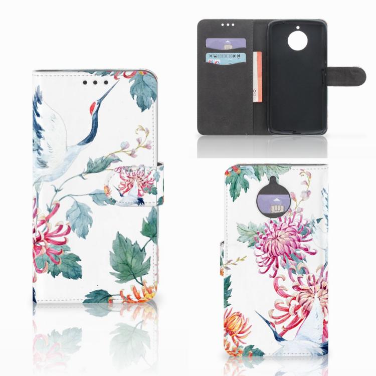 Motorola Moto E4 Plus Telefoonhoesje met Pasjes Bird Flowers