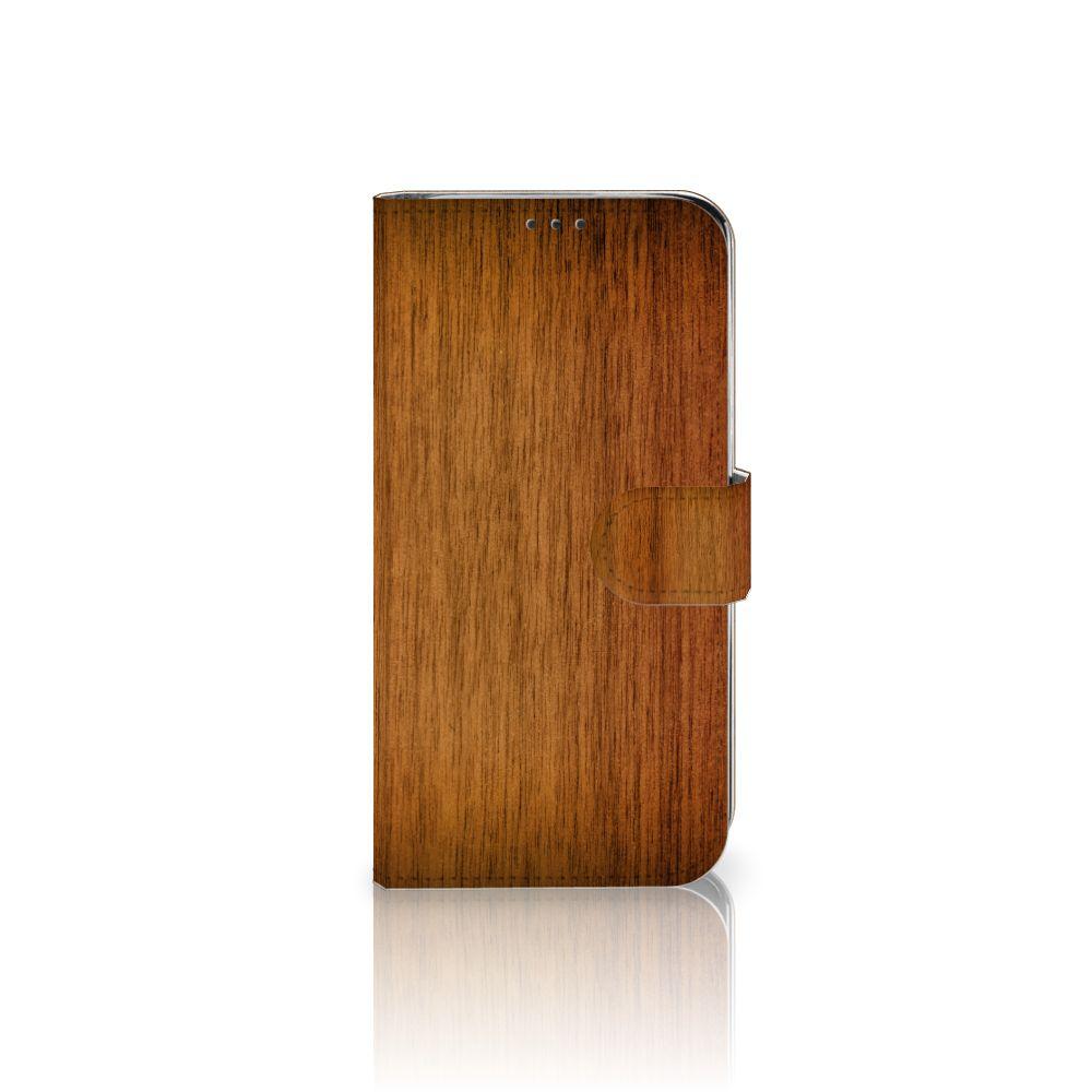 Xiaomi Mi A2 Lite Uniek Boekhoesje Donker Hout