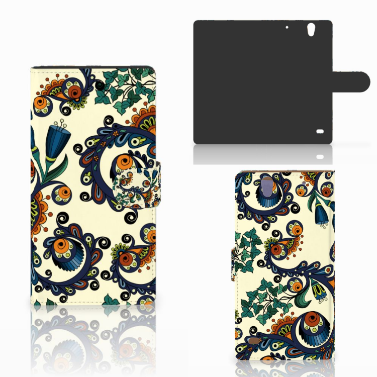Wallet Case Sony Xperia C4 Barok Flower