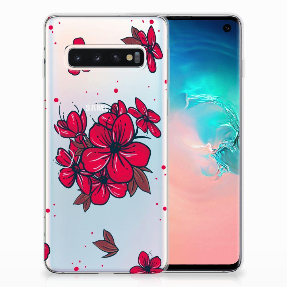 Samsung Galaxy S10 TPU Hoesje Design Blossom Red