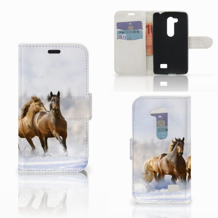 LG L Fino Telefoonhoesje met Pasjes Paarden