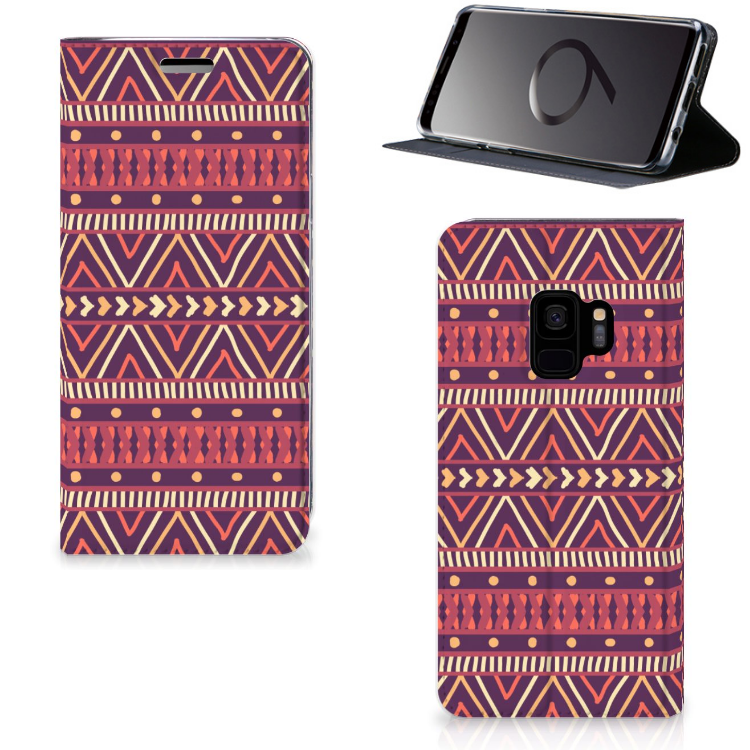 Samsung Galaxy S9 Hoesje met Magneet Aztec Paars