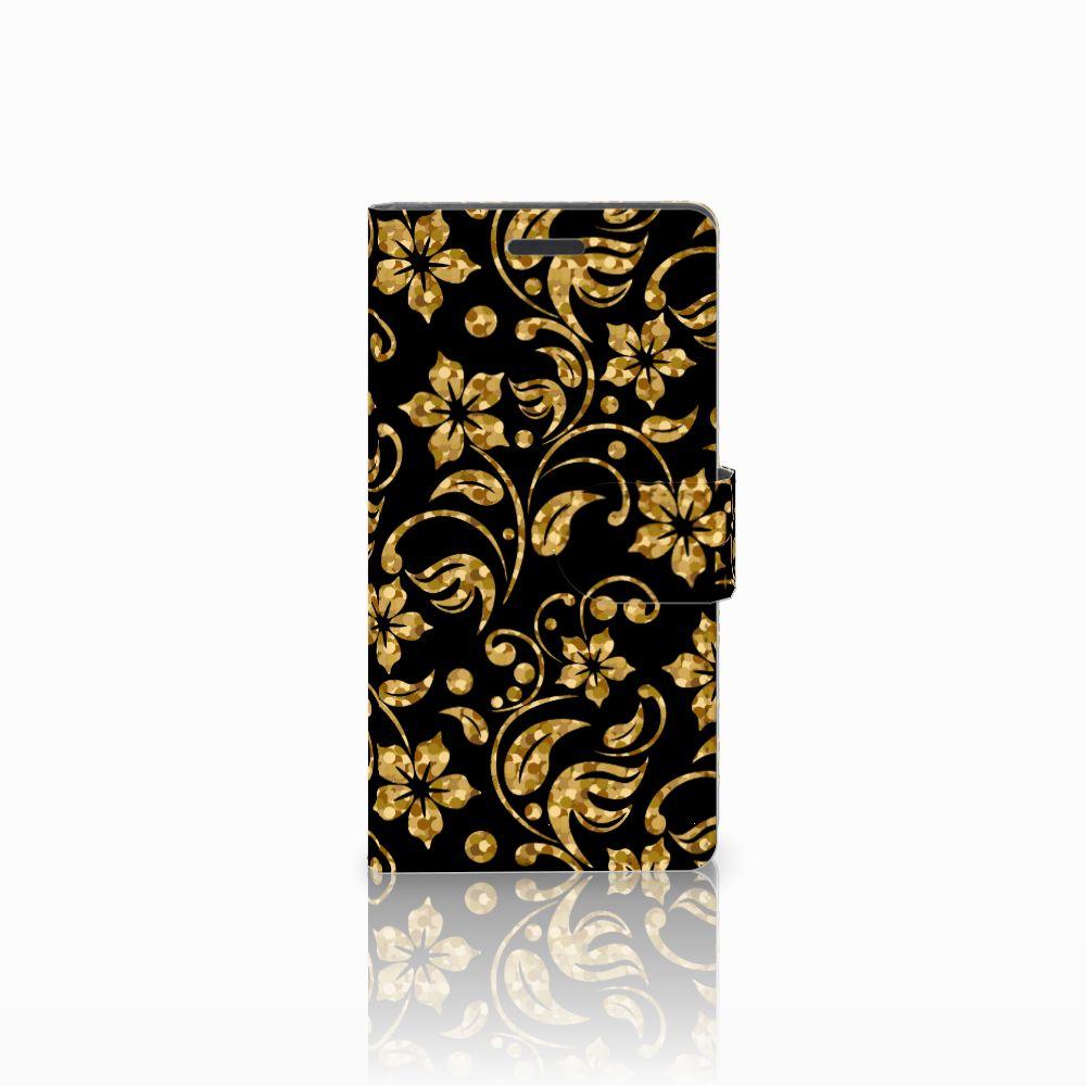 Nokia Lumia 830 Boekhoesje Design Gouden Bloemen