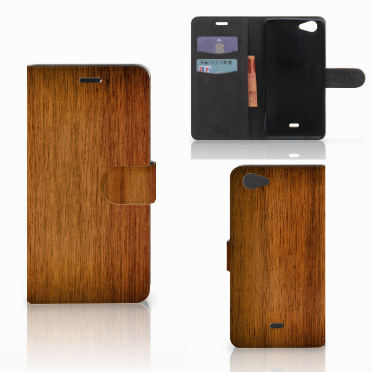 Wiko Pulp Fab 4G Book Style Case Donker Hout