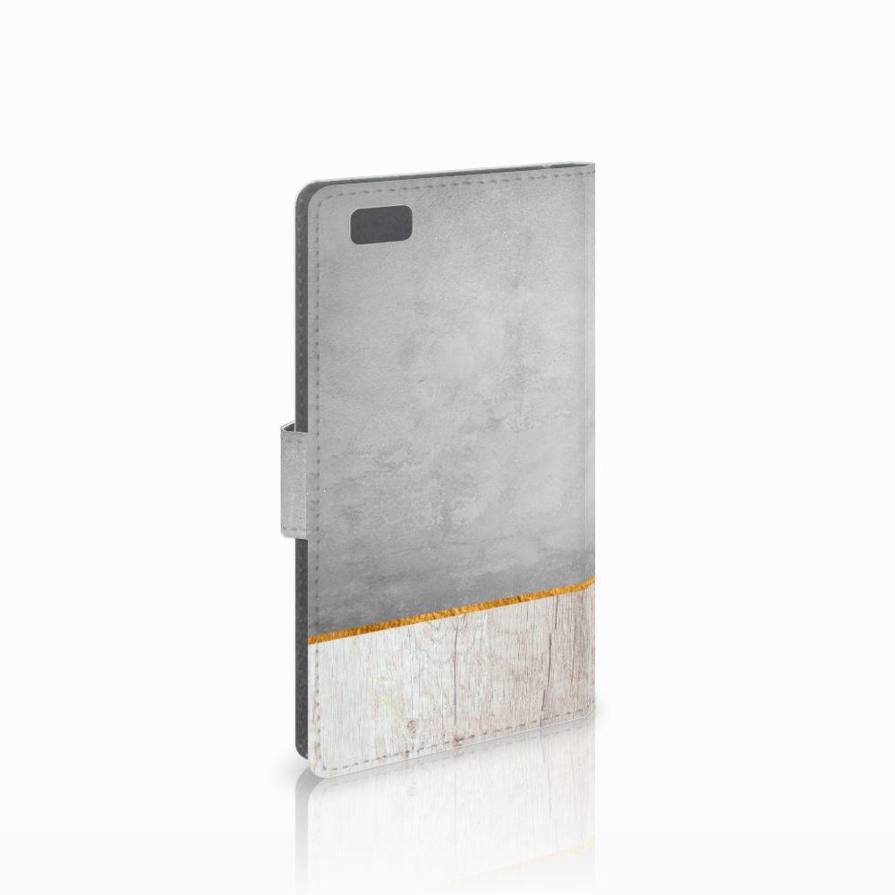 Huawei Ascend P8 Lite Uniek Boekhoesje Wood Concrete