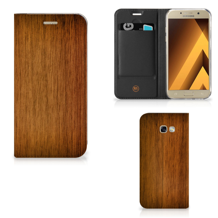 Samsung Galaxy A5 2017 Book Wallet Case Donker Hout