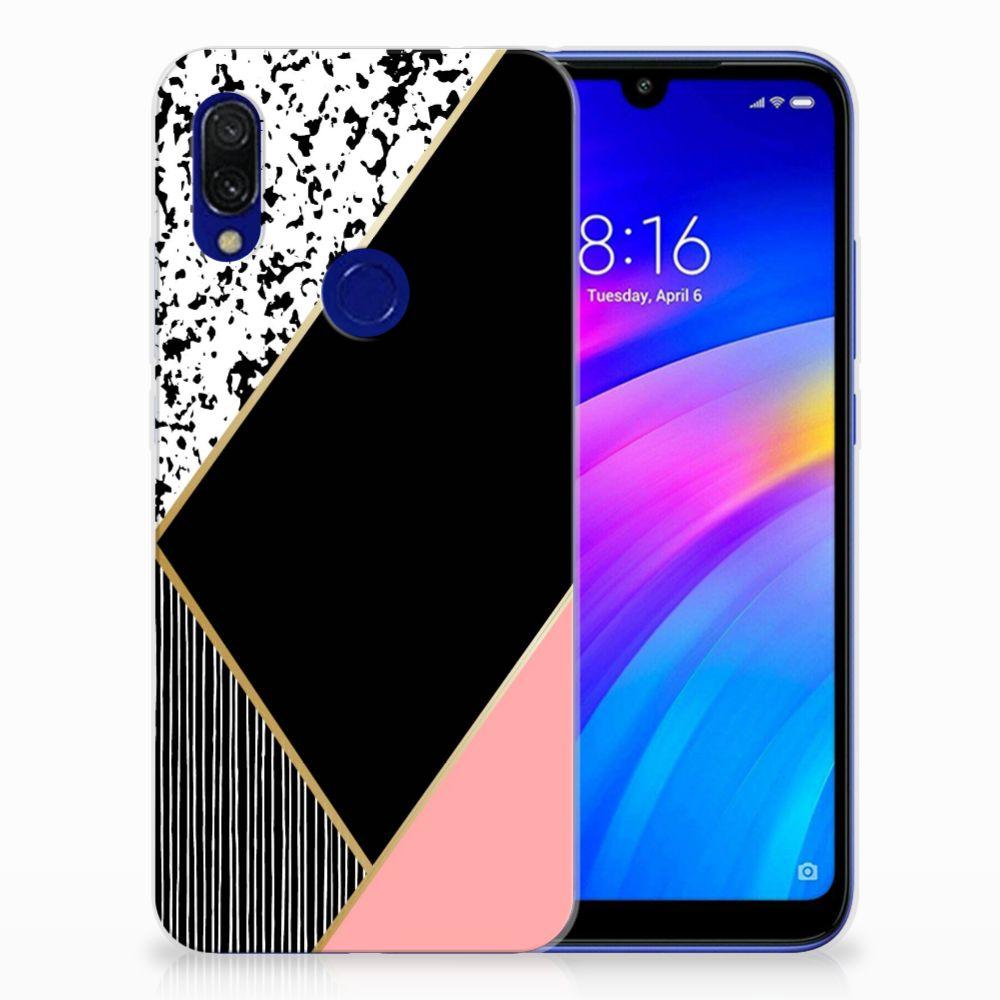 Xiaomi Redmi 7 TPU Hoesje Zwart Roze Vormen