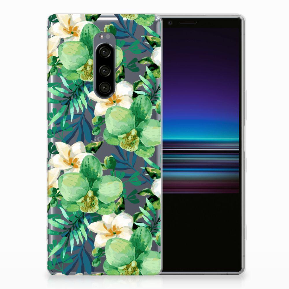 Sony Xperia 1 Uniek TPU Hoesje Orchidee Groen
